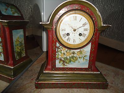 HOWELL JAMES & Co To The Queen Regent St 1870s Antique Pottery Case Mantel Clock