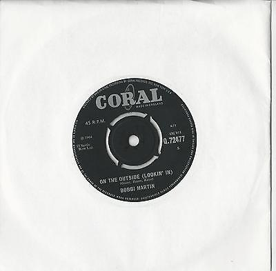 """Bobbi Martin : On the outside Looking in  45 RPM 7"""" Single 1964"""