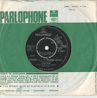 """Keith West : Excerpt from a teenage Oprea  45 RPM 7"""" Single 1967"""