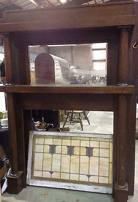 Oak Fireplace Mantle With Beveled Mirror