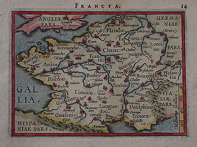 A Sixteenth Century Miniature Map Of France By Abraham Ortelius 1593.