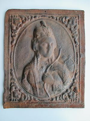 Antique 17th century Saint Barbara with tower religious Fireback hearth panel