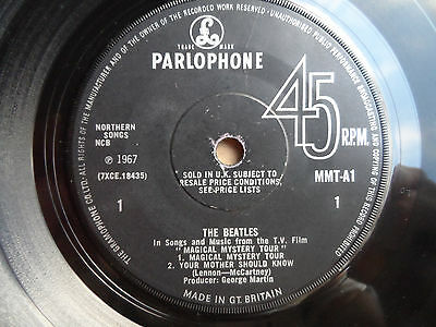 """The Beatles Magical Mystery Tour 7"""" EP Side 3 & 4 Parlophone 1967 VG+ Condition."""