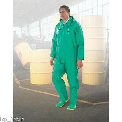 XL Green Chemtex .35MM PVC On Nylon Polyester Bib Overall With Plain Front