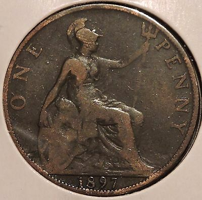 British Large Penny - 1897 - Queen Victoria - $1 Unlimited Shipping