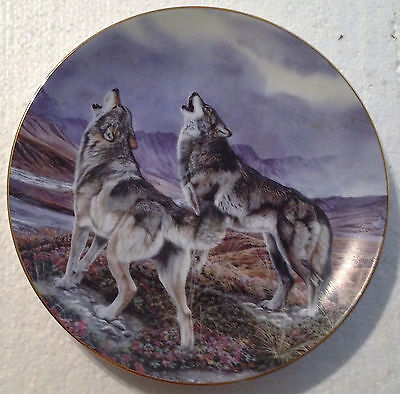 Collectable Wolf Plate 8 1/4 Inches - Song Of The Wolf - Hamilton Collection
