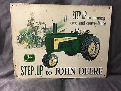 Vtg John Deere Antique Steel Wheel Tractor Tin Metal Sign