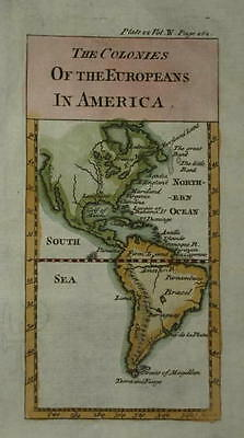 Colonies Of The Europeans In America Engraved For Nicolas Pluche. Circa 1740.