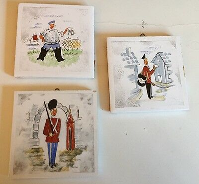 Lot of 3 Vintage 3 Inch Square Handpainted Danish Denmark Tiles - Chef, Soldier