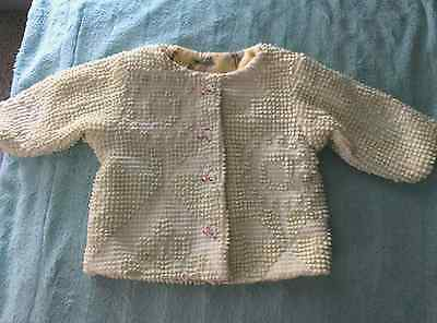 Precious Vintage  Baby's Yellow Chenille Flannel Lined  Jacket Lambie Buttons