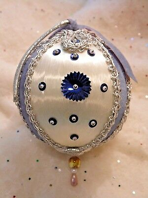 Vintage Ice Blue Satin Beaded Christmas Ornaments Shabby Chic Pearls Sequins