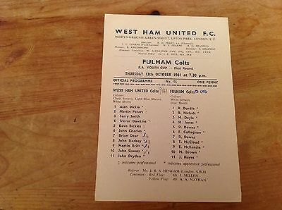 12/10/1961 West Ham Colts V Fulham  Colts FA youth cup