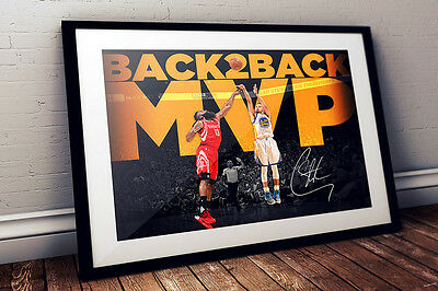 Stephen Curry Golden State Warriors NBA Action Playoff 2016 Autographed  Print