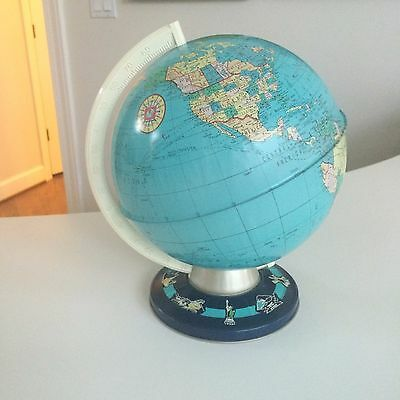 "Ohio Art Tin Globe Vintage Ball ~8"" diameter, total globe with stand ~11"" tall"
