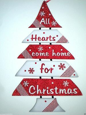 "Glittery Jointed Wooden ""all Hearts Come Home For Christmas"" Hanging Sign"