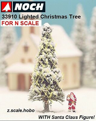 "NOCH 33910 N Scale White Lighted Christmas Tree Santa Claus 2"" NEW $0 Shipping"