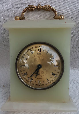 "Xavier Of London Quartz Marble Onyx Shelf Clock  Battery Operated WORKS 6""x5"""