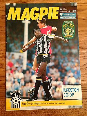 Notts County v Liverpool 1991-92 First Division Football Programme