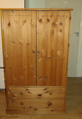Double-door pine wardrobe with hanging rail & two drawers