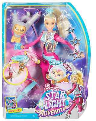 Barbie DWD24 Doll and Hover Cat Toy Star Light Adventure Galaxy Flying Leash
