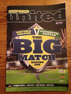 Oxford United  v Plymouth Argyle Played 26/12/2013 - League 2 Football Programme