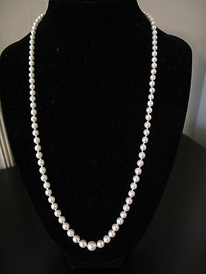 """Vintage MIKIMOTO 22"""" Graduated Pearl Strand Necklace 7mm-4mm MATINEE LENGTH"""