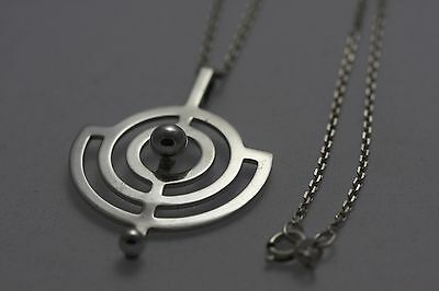 Vintage Norway Willy Winnaess Sterling Silver Planet Pendant and Silver Chain