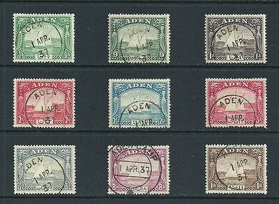 Aden KGVI 1937; SG1-9; values to 1r; very fine used.