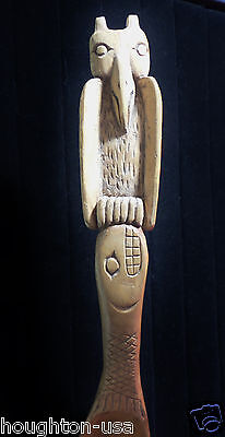 Antique Pacific NW Native American Tlingit Potlatch Wooden Owl & Salmon Ladle!