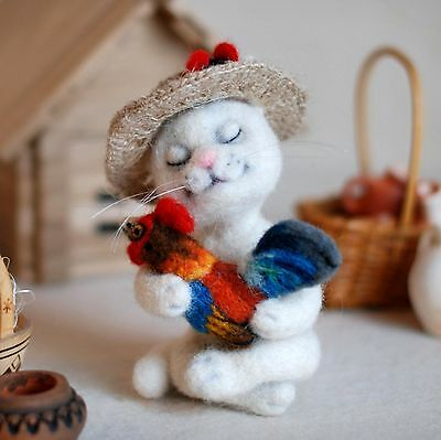 OOAK handmade felted cat with rooster, artist composition, 4in.