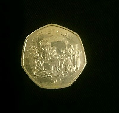 christmas old 50p coin, Nativity play
