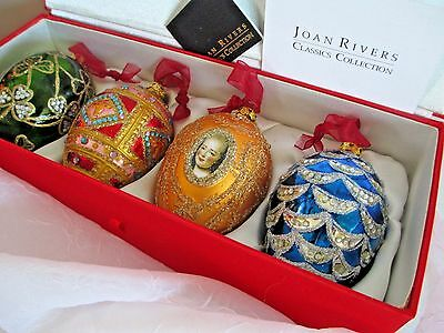 Joan Rivers Christmas Glass Ornaments Faberge Egg Inspired Four 4 Seasons