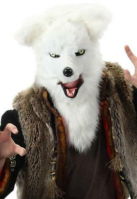 White Fox Mask Mouth Mover Animal Fancy Dress Up Halloween Costume Accessory