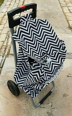 Black And White Chevron  Foldable Collapsible Shopping Market Trolley Cart