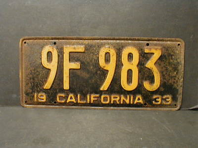 Low Number 1933 California License Plate