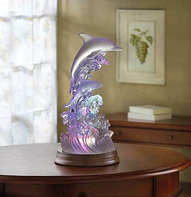 Beautiful Frosted Dolphins On Waves Of Light Color Changing Sculpture Figurine