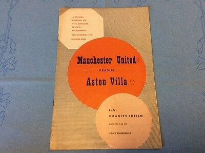 1957 Charity Shield MANCHESTER UNITED v ASTON VILLA  (RARE)