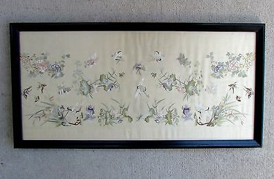 Antique Silk Panel BIRDS FLOWERS Embroidery BUTTERFIES Chinese Framed EXC Fine