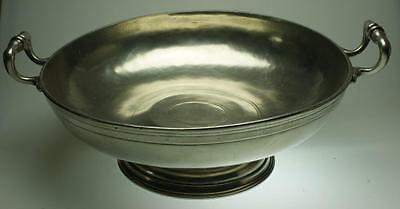 Marinoni Pewter Round 2 Handled Footed Bowl Made in Italy VA179