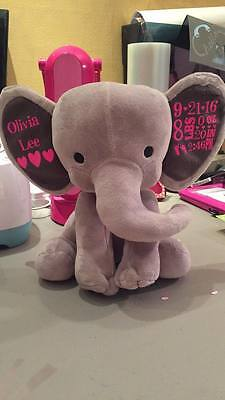 1PERSONALIZED ELEPHANT FOR NEW BORN BABY Great gifts! Custom Birth stat elephant