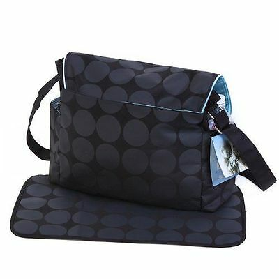 Baby Nappy Diaper Changing Bag Set Large Black & Grey Polka Dots- FREE DELIVERY