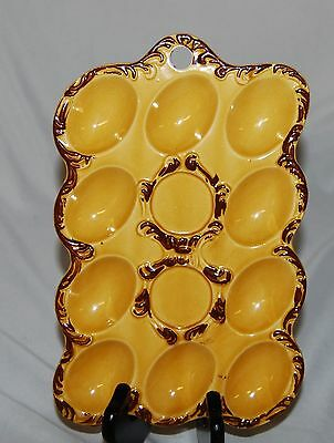 Vintage Yellow Ceramic Deviled Egg Serving Tray Dish Hand Painted Japan