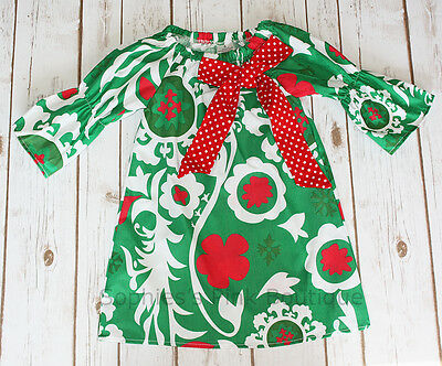 Toddler & Girls Christmas Holiday Red Green FLORAL Boutique Ruffle Peasant Dress