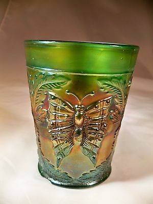 """FENTON GLASS BUTTERFLY & FERN GREEN 4"""" TALL WATER or BEVERAGE TUMBLER!"""