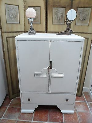Stylish Vintage Painted Art Deco Tallboy/Linen Cupboard Shabby Chic