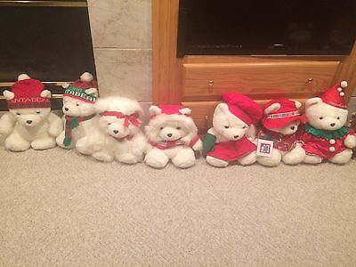 Lot of 7 Dayton Hudson's Santa Bears with gift bags