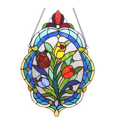 Multi-Color Oval Tulip Floral Design Tiffany Style Stained Glass Window Panel