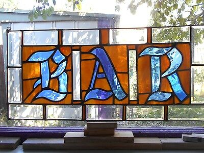 Stained Glass Window Panel Suncatcher  Beveled Bar Sign