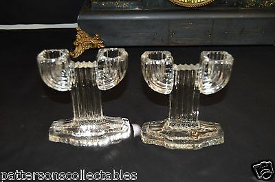 Vintage Pair of Double Candle Holders or Candle Sticks Cut Glass