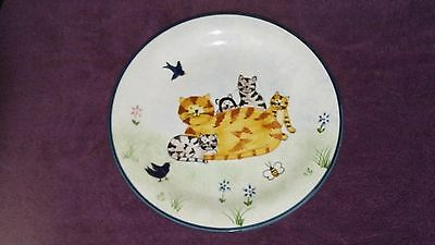 "Creatively Yours Karen DeAlwis Hand Painted Gang of Happy Cats 10.5"" Plate"